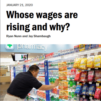 """Brookings (1/21/20): """"One reason that workers at the bottom are doing relatively better recently is the recent increases in many state and local minimum wages."""""""