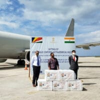 The doses of the vaccine, known in India as Covishield, arrived in Seychelles onboard a special flight operated by an Indian Navy Aircraft January 22, 2021 (Photo: Salifa Magnan, Seychellles News Agency)