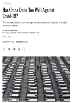 """""""China's comparative success now risks hurting the country,"""" an apparently non-satirical New York Times op-ed (12/29/20) argued."""