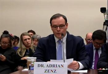 Adrian Zenz testifying before Congress on December 10, 2019