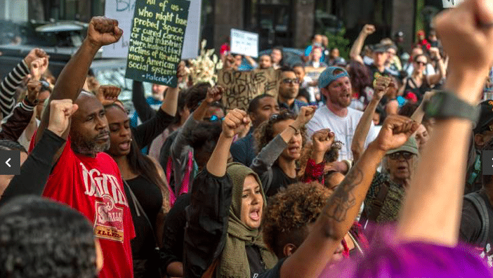   UC Davis student Kaleemah Muttaqi 19 center with green scarf joined the Fists Up chant during a Day of Action protest in downtown Sacramento hosted by Black Lives Matter Sacramento and the Anti PoliceTerror Project in Sacramento Calif on Wed April 4 2018 They are seeking justice for Stephon Clark who was killed by Sacramento police in his grandmothers backyard RENEE C BYER RBYERSACBEECOM Read more here httpswwwsacbeecomopinionopedarticle248636275htmlstorylink=cpy   MR Online
