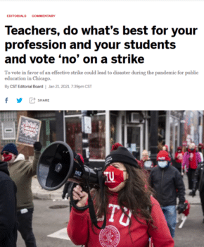 """The Sun-Times (1/12/21) demands, """"As the vaccine is rolled out to them in the coming weeks, teachers need to rise to the occasion and return to in-person teaching right now."""""""