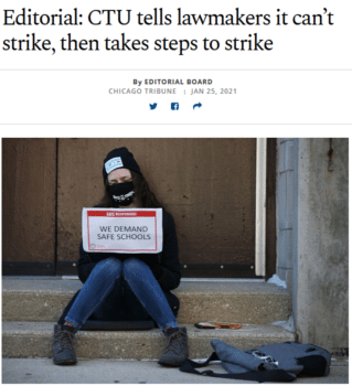 """The Chicago Tribune (1/25/21) called the union offer to continue to teach remotely """"CTU doublespeak on full display."""""""