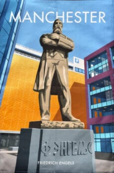 A statue of Engels in Manchester, salvaged by artist Phil Collins depicted on a tea towel