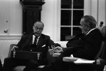Robert Komer and Lyndon B. Johnson. [Source: wikipedia.org]