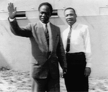 Dr. Kwame Nkrumah with Dr. Martin Luther King, Jr., in Accra, capital of Ghana. [Source: globalresearch.ca]