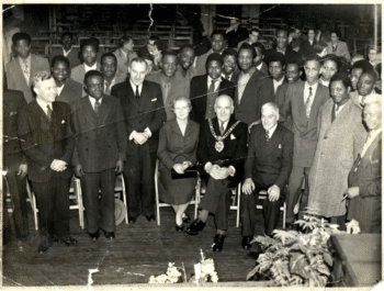 Photo of participants at 5th Pan-African Congress in           Manchester, 1945. [Source: aiucentre.wordpress.com]