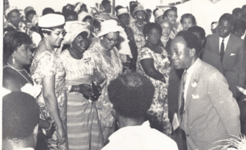 Nkrumah interacting with members of parliament in the late 1950s. [Source: indepthnews.net]