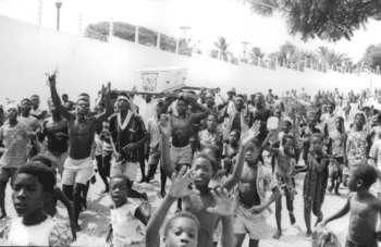 Ghanaians take to the streets during the coup. [Source: histclo.com]