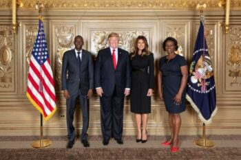 President Jovenel Moïse (left) of Haiti and first lady Martine Moïse (right) pose with Donald and Melania Trump in New York City, September 28, 2018. (U.S. Embassy, Port-au-Prince / Wikimedia)