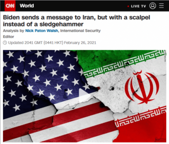 CNN (2/26/21) praises Joe Biden for killing people with restraint.