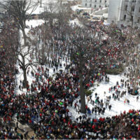 Protests outside of the Wisconsin state capitol building during 2011