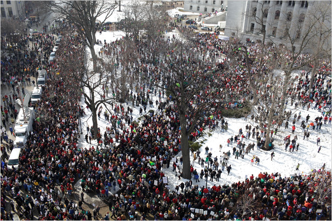   Protests outside of the Wisconsin state capitol building during 2011   MR Online