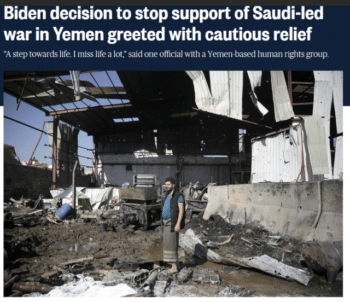 """NBC (2/5/21) reported that """"Saudi Arabia…has long been an important ally of the United States in the region, cooperating on counterterrorism, acting as a bulwark against Iran and presiding over crucial oil reserves."""""""