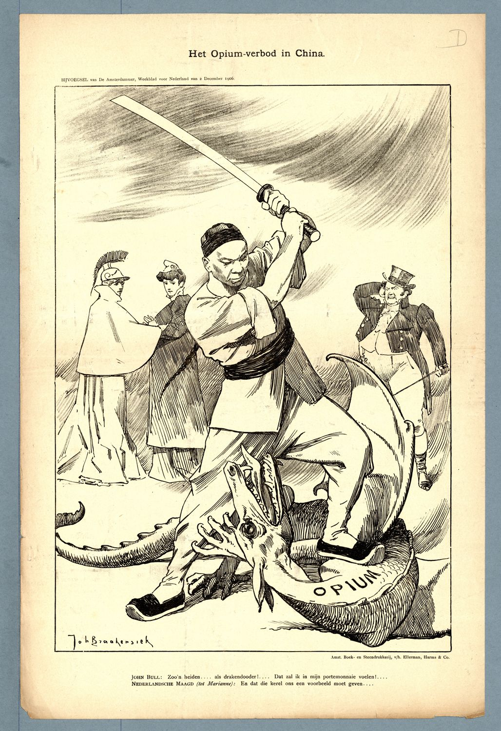 | Comic on The Opium Ban in China from the weekly De Amsterdammer December 2 1906 | MR Online