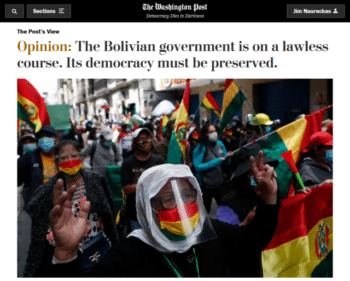 | The lawless course that the Washington Post 31821 is referring to is prosecuting the people who overthrew the elected Bolivian government and killed people who protested the coup | MR Online