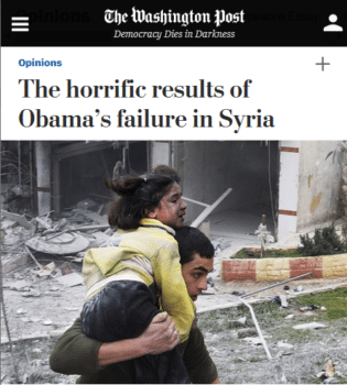 """Washington Post columnist Michael Gerson (9/3/15) declared that in Syria, """"Inaction was a conscious, determined choice on the part of the Obama White House""""—despite the fact that Obama's CIA was spending $1 billion a year to overthrown the Syrian government (Washington Post, 6/12/15)."""
