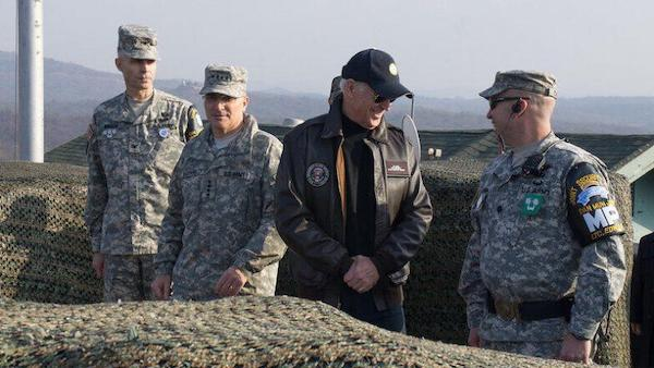 Then-Vice President Joe Biden visits U.S. troops occupying Korea in 2013. Credit: U.S. Army/Sgt. Brian Gibbon