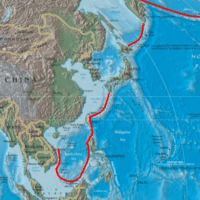 """Red line denoting the Pentagon's """"first island chain"""" (Wikimedia Commons)"""