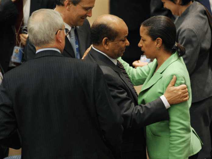   Susan Rice embraces Abdurrahman Mohamed Shalgam former Libyan parliamentary representative at the UN and a defector from Qaddafis regime at the UN after vote on March 17 2011 authorizing air strikes to protect civilians from Qaddafis alleged depredations Source zimbiocom   MR Online