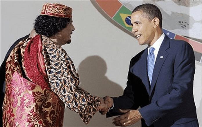   Qaddafi and Obama warmly shake hands in 2009 Source telegraphcouk   MR Online