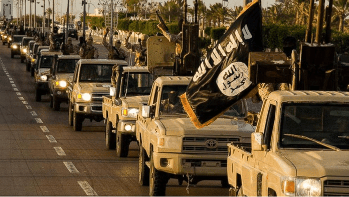   Islamic state militants parade with their flag through liberated Misrata in February 2015 Source abcnewscom   MR Online
