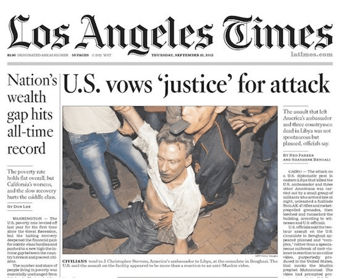   Los Angeles Times cover featuring Ambassador Stevens just before his death Source huffpostcom   MR Online
