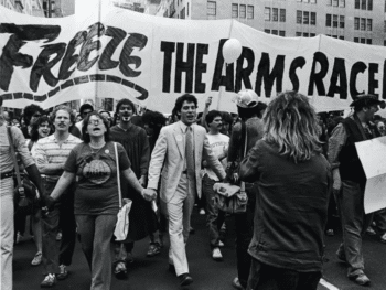 | Supporters of the Freeze movement march at a huge rally in New York City in June 1982 that was attended by hundreds of thousands of people source outriderorg | MR Online