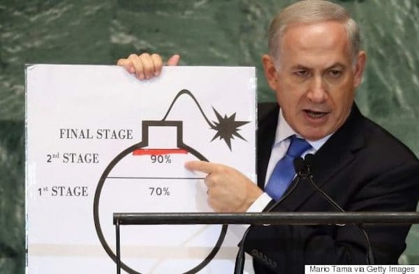 NETANYAHU POINTS TO A DRAWING OF A BOMB IN WARNING OF IRAN'S THREAT, IN AN ADDRESS TO THE UNITED NATIONS GENERAL ASSEMBLY ON SEPTEMBER 27, 2012 IN NEW YORK. (PHOTO BY MARIO TAMA/GETTY IMAGES)