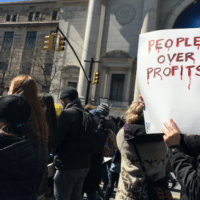 March for Our Lives 24 March 2018 in NYC, People Over Profits sign, Central Park West, AMNH, Manhattan