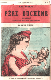 | The Paris Commune hold Thiers as a puny newborn baby And dont they want me to acknowledge this little runt Cartoon published in the illustrated magazine Le Fils du père Duchêne issue n°2 6 Floréal 79 CC Wikimedia | MR Online