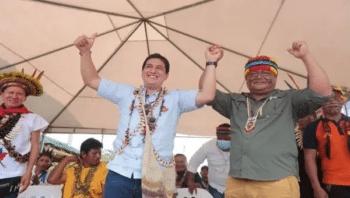 UNES Presidential candidate Andres Arauz (L) and CONAIE President Jaime Vargas, Ecuador, April. 3, 2021