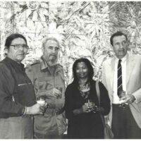 Dennis Banks, Fidel Castro, Alice Walker, Ramsey Clark, in Havana, April 1993. Credit: Gloria La Riva