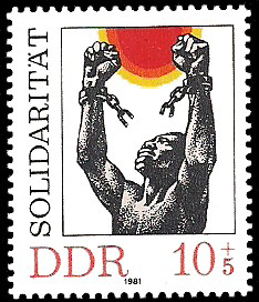 This DDR stamp from 1981 shows solidarity with the anti-imperialist liberation movements. Stamps in the DDR often featured motifs dedicated to revolutionary events, anti-fascism, and international solidarity. The West German postal service refused to deliver letters carrying certain stamps, such as those from the 'Invincible Vietnam' series. Conversely, the DDR postal service, as well as those of other socialist states, refused to forward mail carrying stamps with revanchist themes.
