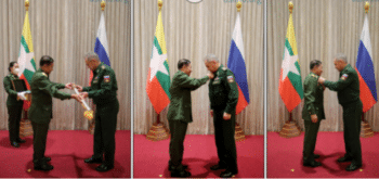 On January 22 General Min Aung Hlaing and Defence Minister Shoigu exchanged a ceremonial sword and medal.