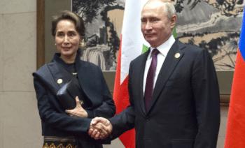 | Aung San Suu Kyi meeting with President Vladimir Putin in China on April 26 2019 Source httpenkremlinru | MR Online