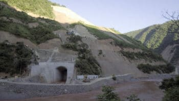 The construction site for the Jiasa River hydropower station, which poses risks to the endangered green peafowls active in the area near Jiasa Town, Yunnan province, Aug. 21, 2017. Courtesy of Friends of Nature