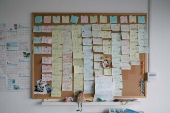 | Dates for environmental protection activities are marked on the postit notes at Zhang Bojus office in Beijing March 2 2021 Shi YangkunSixth Tone | MR Online