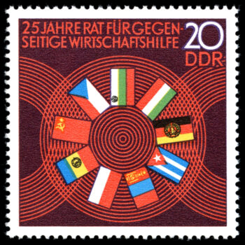 This twenty-fifth anniversary stamp of the Council for Mutual Economic Assistance (COMECON) depicts the flags of its member countries, including the Mongolian People's Republic (in 1962) and Cuba (in 1972). To strengthen the Eastern Bloc's economic cooperation and power, socialist states created COMECON in 1949. Its aim was to achieve effective specialisation and division of labour, as well as the gradual alignment of the very different economic conditions of its member states. The founding countries included the Soviet Union, Poland, Romania, Bulgaria, Czechoslovakia, and Hungary. The DDR joined in 1950.