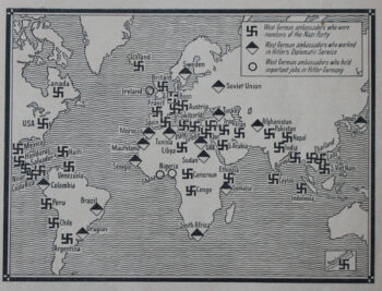 In 1962, the Democratic German Report, an English-language journal based in the DDR, published a map listing the countries in which former members of the Nazi party were working as ambassadors for the Federal Republic of Germany. Despite the end of the Third Reich's reign of terror, the 'old elites' quickly re-emerged in the young Federal Republic. Functionaries of the Hitler regime were appointed to influential positions in the judiciary, universities, the army, and corporations.
