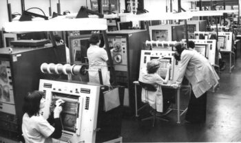 This image features the standardised system of electronic computers being developed and manufactured at the VEB Kombinat Robotron in Dresden. Changes in technology in the 1960s posed new challenges for the DDR's economy. Head of state Walter Ulbricht consequently declared the mastery of the scientific-technical revolution as a fundamental task for the DDR. Six socialist states subsequently worked together in the research and production of powerful computing systems within the COMECON framework of the Unified System of Electronic Computers (also known as ES EVM). The West's embargo policy forced the COMECON states to produce their own microelectronic base at incredibly high costs.