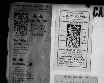Advertisements for Harlem balls and headline of article attacking the balls. Clippings in Carl Van Vechten scrapbook #10, Beineke Library, Yale University. Photo by the author.