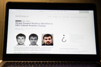 A Bellingcat article covering the alleged poisoning of Sergei Skripal, a story covered heavily by the organization. Alexander Zemlianichenko | AP