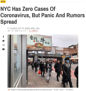 Gothamist (1/31/20) illustrated an article about the absence of coronavirus in New York with a photo of Flushing, a largely Chinese-American neighborhood in Queens.