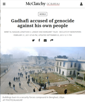 "The evidence McClatchy (2/21/11) offered that Gadhafi had been charged with ""genocide"" was a single interview on Al Jazeera."