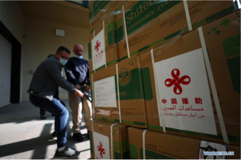 Workers unload a donated shipment of Chinese Sinopharm vaccines in the West Bank city of Nablus. [Photo by Ayman Nobani/Xinhua]
