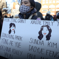 Asian Americans and New Yorkers at a peace vigil for the victims of the Atlanta spa shootings, March 19, 2021. Tayfun Coskun/Anadolu Agency/People Visual
