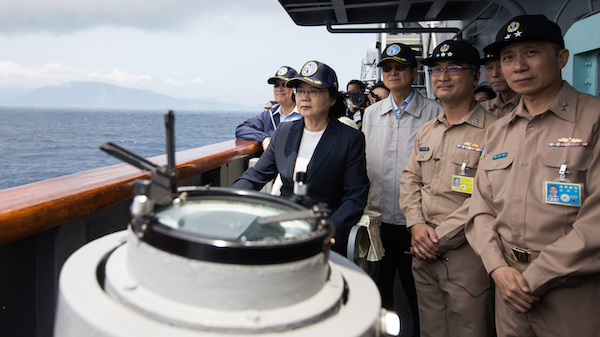 | Taiwan President Tsai Ingwen second from left inspects a naval destroyer during miliotary drills off the port of Suao ahead of planned war games by China Photo | Military News Agency via AP | MR Online
