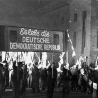 A mass rally with the Free German Youth that marked the founding of the German Democratic Republic in the Soviet Occupation Zone, October 1949.