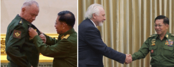 AFTER: left; General Alexander Fomin, Deputy Russian Defense Minister, receiving a medal from General Min Aung Hlaing, in Yangon on March 26, 2021. Right, Pavel Gusev, editor in chief of Moskovsky Komsomolets (MK), at the start of interview with Min Aung Hliang on March 26, 2021.